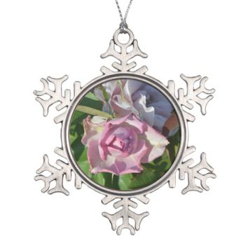 Heavenly Rose Abstract Snowflake Pewter Christmas Ornament