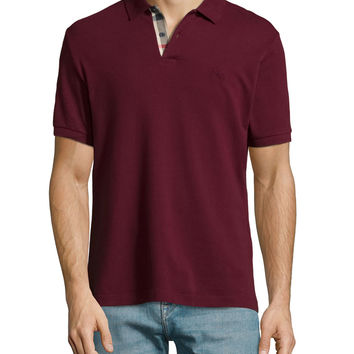 Short-Sleeve Pique Polo Shirt, Dark