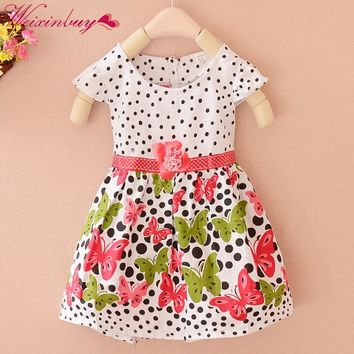 Summer Baby Girls Kids Short Sleeve Dress Polka Dots Butterfly Princess Dresses