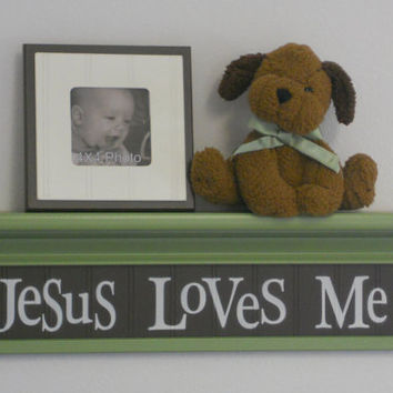 "Green Nursery Decor Kids Wall Shelving - Jesus Loves Me - Sign on 24"" Green Shelf with Brown Sign"