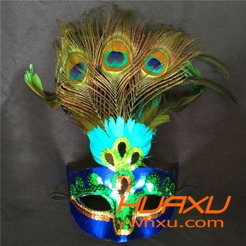 ESBONHS Hot!Party Mask Woman Female Masquerade Masks Luxury Peacock Feather Half Face Mask Party Cosplay Costume Halloween Venetian Mask