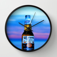 cold beer Wall Clock by Laura Santeler