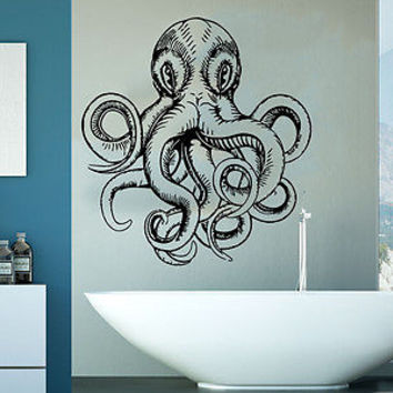 Wall Decal Octopus Tentacles Fish Deep Sea Ocean Animals Vinyl Sticker Decor C89