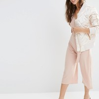 Boohoo Quilted Satin Bomber Jacket