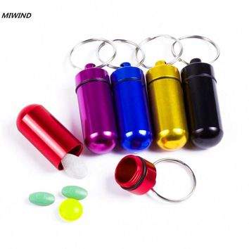 New Waterproof Aluminum Pill Box Case Bottle Drug Holder Keychain Container