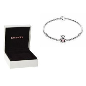 Authentic Pandora S925 Sterling Silver Bracelet & It's a Girl Bear Charm Bead w/ Box F