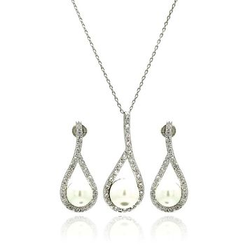 Rhodium Plated Brass Pearl Teardrop Clear Cubic Zirconia Hanging Stud Earring & Necklace Set