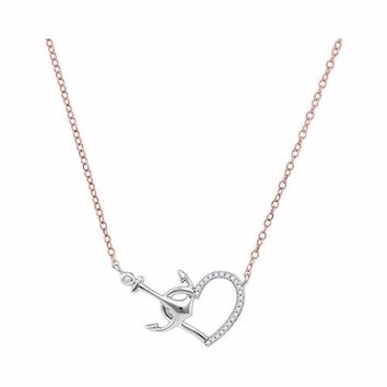 10kt White Gold Women's Round Diamond Heart & Anchor Pendant Necklace 1-12 Cttw - FREE Shipping (US/CAN)