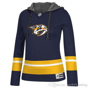 Custom Jersey Nashville Predators Womens Blue Sweaters Customized Any Name & Number Ice Hockey Hoodies Jersey Fast Shipping Embroidery Logos
