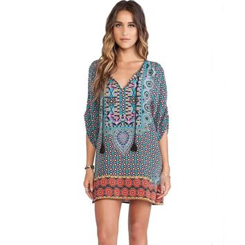 African Dashiki Beach Dress Hippie Summer 2017 Style