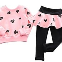 BomDeals Adorable Cute Toddler Baby Girls Clothes Set,Long Sleeve T-Shirt +Pants Outfit (Age(5T), Pink)
