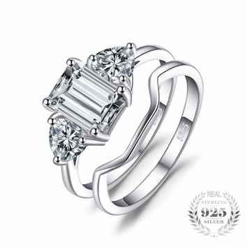 Emerald Cut 2 Piece Cubic Zirconia Ring Set 925 Sterling Silver