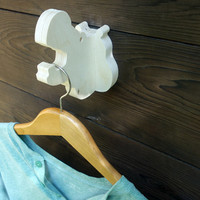 Playful animal wall hook: plywood hippo head wall hanger for coats, towels, bags, hats, backpacks and everything - great for kids' rooms