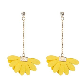 Bls-miracle Bohemian Leather Flower Earrings For Women 2018 Fashion Candy Colors Drop Dangle Earring Statement Handmade Jewelry