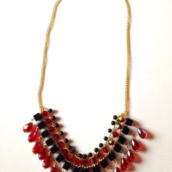 Ruby and Black Bib Necklace, Statement Necklace, Free Shipping, Ruby Necklace, Drop Necklace, Formal Jewelry