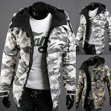 HENGSONG Winter Jacket Men Warm Outerwear Military Camouflage Outdoor Hooded Coat Men Thickening Cotton-Padded Jackets