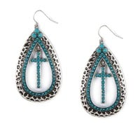 Hammered Metal and Teal Bead Teardrop and Cross Drop Earrings  | Icing