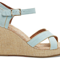 TOMS Light Blue Suede Gold Trim Women's Strappy Wedges Blue