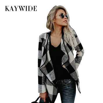 DICLOUD 2017 Women Winter Coats Series Autumn Fashion Full Sleeve Plaid Short Style Trench Casual Woolen Coat For Women 17709