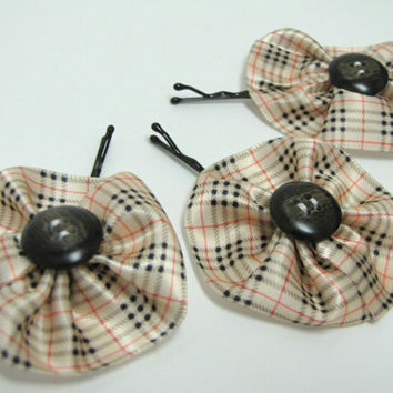 Burberry inspired satin flower hair pin with button center