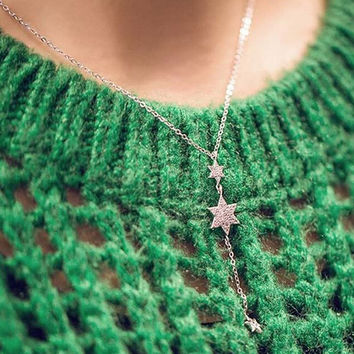 Womens Retro Sterling Silver Stars Necklace + Gift Box Jewelry-56