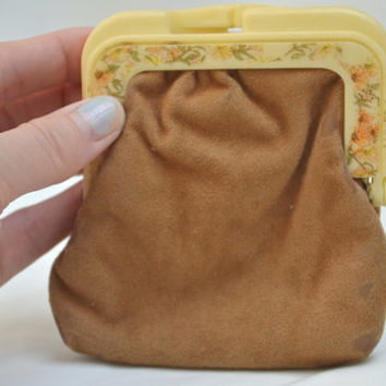 Suede Coin Purse, Coin Pouch, Vintage Pouch, Vintage Coin Purse, Pouch, Change Pouch, 1960's Coin Purse, 1960's Pouch, Brown Suede Pouch