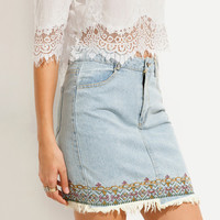 Blue Frayed Embroidered Denim Skirt