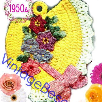 Easter Bonnet Potholder CROCHET Pattern • PdF Pattern • Vintage 1950s • Digital Pattern • Kitchen Supplies • Quick Gift • New Home New Apt