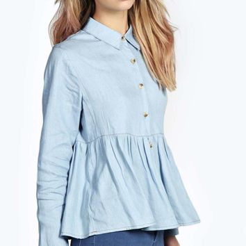 Frankie Button Through Denim Peplum Shirt