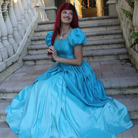 Ariel Little Mermaid Adult Cosplay Costume Ball Gown Dress Cosplay