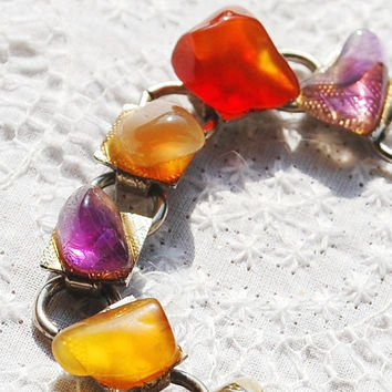 Vintage Gemstone Bracelet, Colorful Autumn Agate Stones, Purple Red Yellow Orange Brown, Silver Chain, 1970s Summer Fall Nature Jewelry