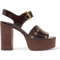 See by Chloé - Nora eyelet-embellished glossed-leather platform sandals