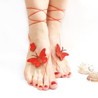 Barefoot sandal, Red, Butterfly Anklet, Genuine leather butterfly, chamois leather, Anklet, Red barefoot sandal, wedding, Natural anklet