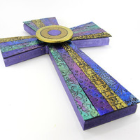 Brilliant Large Mosaic Cross, Mosaic Cross, Stained Glass, Easter Cross, Unique Wall Cross, Decorated Crosses, Confirmation Gift, Baptism