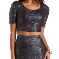 Iridescent Metallic Crop Top by Charlotte Russe - Dark Blue Combo