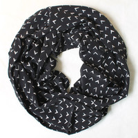 black viscose arrow scarf,infinity scarf, scarf, scarves, long scarf, loop scarf, gift