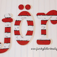Dr. Seuss Cat In The Hat Striped Painted Wall Letters