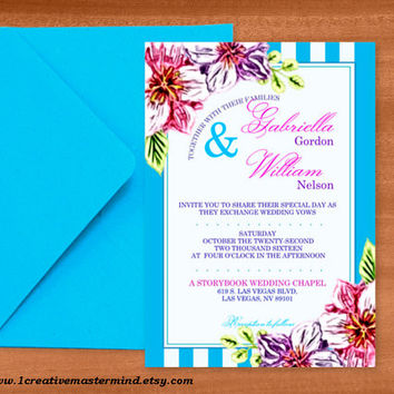 DIY Wedding Invitation Template, Instant Download, DIY, Editable PDF, Printable, Digital, Floral with Teal and White Stripes #1CM80-4