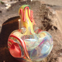 Sunburst Red Color Changing Inside Out Glass Pipe