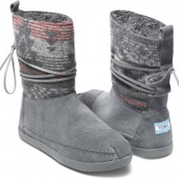 Grey Suede Jacquard Women's Nepal Boots