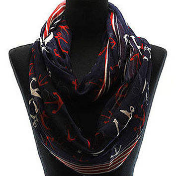 Anchors away navy blue infinity scarf