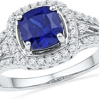 10kt White Gold Womens Lab-Created Blue Sapphire Solitaire Ring 2-1/12 Cttw 100152