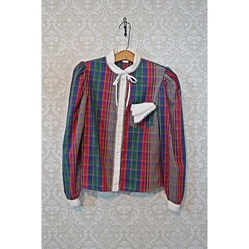 Vintage 1980s Plaid + Prep School Blouse