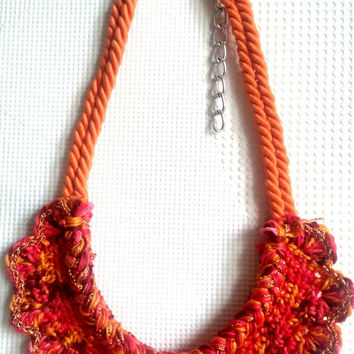 Crocheted Necklace Red Pink Orange Purple Yarn