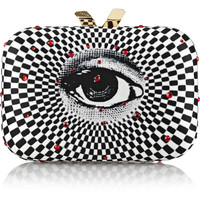 Kotur - Morley Swarovski crystal-embellished printed satin box clutch