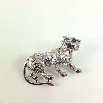 Cougar Wildcat Crystal Rhinestone Pin Brooch Jewelry Gift for Her Self-assurance Hat Pin Scarf Jewelry Dress Jewelry Accent Special Occasion