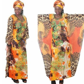 african dress bazin for women clothing 2018 traditional Bat Sleeves leopard
