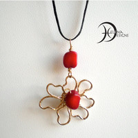 Goldfilled flower necklace, Red coral necklace, Goldfilled red coral pendant, Daisy, Gold Flower pendant, Wire jewelry, Artisan jewelry
