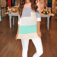 COLOR BLOCK TUNIC- PINK