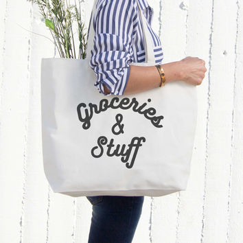 Grocery And Stuff Canvas Bag Christmas Or Mother's Day Gifts - Grocery Bag